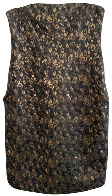 Item - Black and Gold Unknown Mid-length Cocktail Dress Size 10 (M)