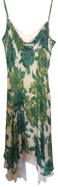 Item - Green and White 123 Mid-length Cocktail Dress Size 14 (L)