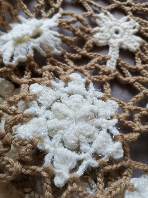 Item - Sand and Ivory Crochet Floral Shawl Scarf/Wrap