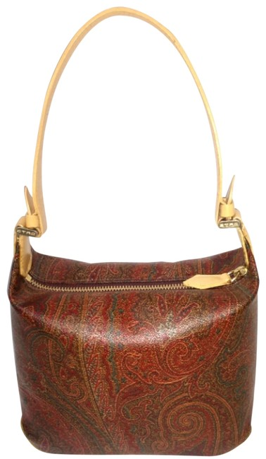 Item - Paisley Petite Handbag Red and Green Maize Leather & Coated Canvas Satchel