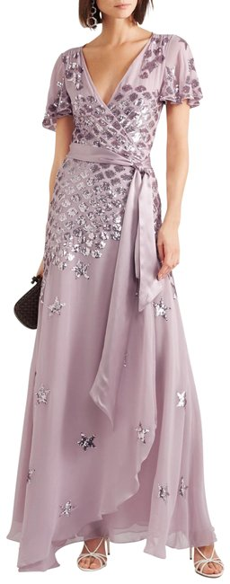Item - Lilac and Silver Wrap Gown Long Formal Dress Size 8 (M)
