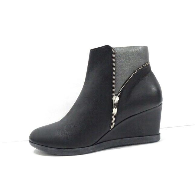 Item - Black Ines Silver Zip Leather Wedge Ankle 10/41 Boots/Booties Size EU 41 (Approx. US 11) Regular (M, B)