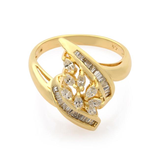 Item - 14k Yellow Gold Marquise and Baguette Diamonds Cocktail 0.75cttw Ring