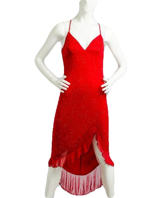 Item - Red 90's Beaded 3/4 Sku 000087 Night Out Dress Size 4 (S)