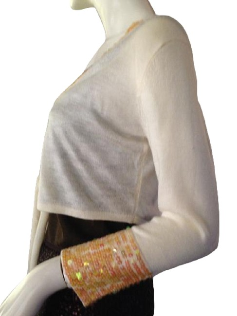 Item - Co Cropped Tie Front Sequins S/M Sku 000210 Cream with Pink and Orange Sweater