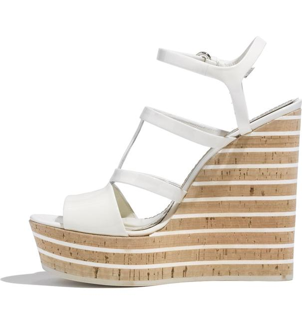 Item - Mystic White New 'eilin' Patent Leather Gg Cork Sandals Wedges Size EU 37 (Approx. US 7) Regular (M, B)