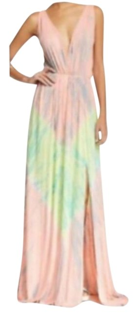 Item - Coral Green V-neck Tie-dye Long Casual Maxi Dress Size 8 (M)