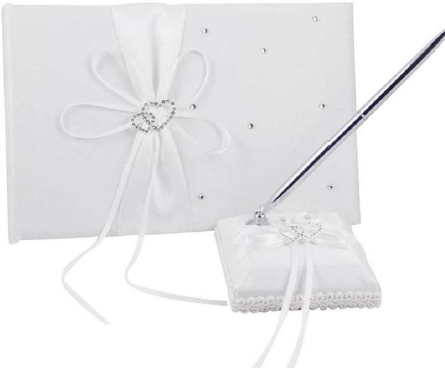 Item - White Silver Bridal Guess Book Pen and Holder Set