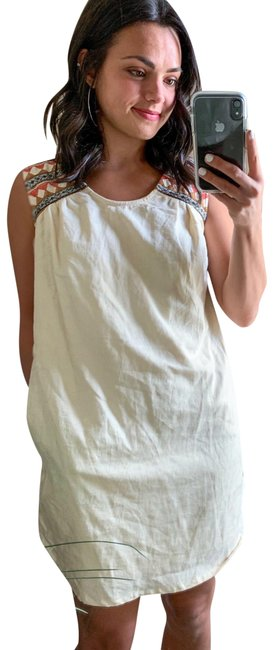 Item - Tan Anthropologie Beige Floral Sleeveless Shift Long Short Casual Dress Size 4 (S)