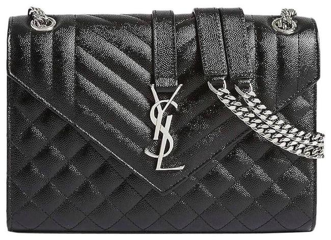 Item - Monogram Envelope New Ysl Quilted Purse Tote Black Silver Leather Cross Body Bag