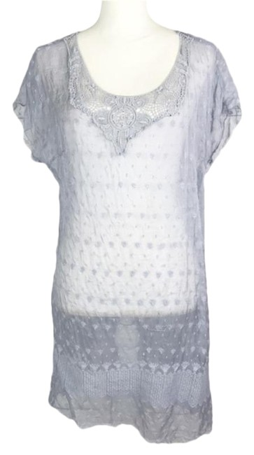 Item - Blue Gray Embroidered Neck Tunic Short Casual Dress Size 8 (M)