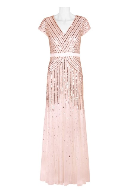 Item - Blush Pink Beaded V-neck Gown Feminine Bridesmaid/Mob Dress Size 12 (L)