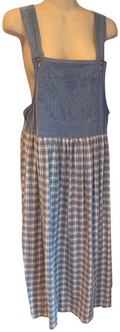 Item - Blues and White Vintage 1990's Flannel Jumper Mid-length Casual Maxi Dress Size 8 (M)