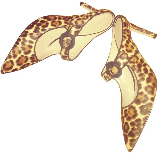 Item - Brown/Multi Leopard Haircalf Mules/Slides Size US 7.5 Regular (M, B)