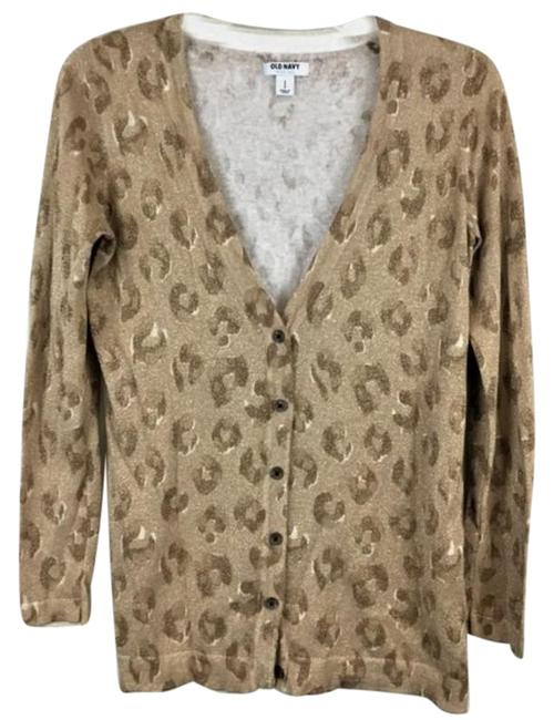 Item - Knit Animal Print Button Tan Brown Sweater