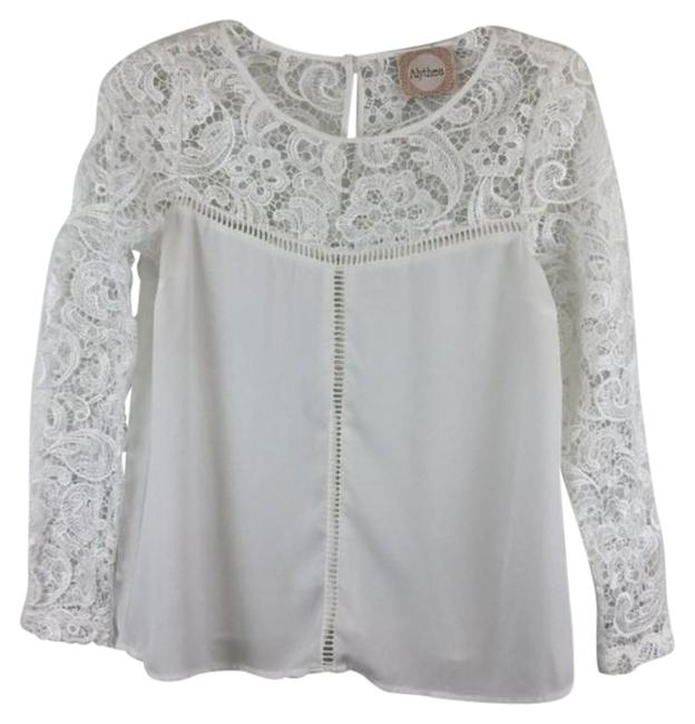 Item - White Lace Print Long Sleeves Tunic Size 4 (S)