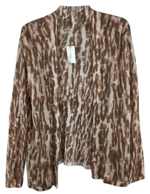 Item - White Brown Leopard Blushedwildcat Sweater Cardigan Size 12 (L)