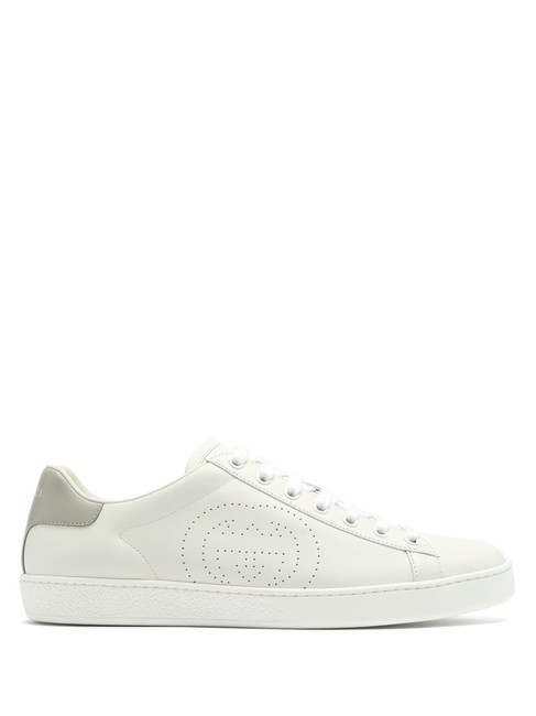 Item - White/Gray Mf New Ace Perforated Logo Leather Trainers Sneakers Size EU 37.5 (Approx. US 7.5) Regular (M, B)