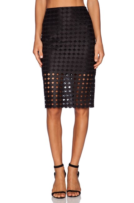 Item - Black Circle Embroidered Lace Cesar Pencil Skirt Size 2 (XS, 26)