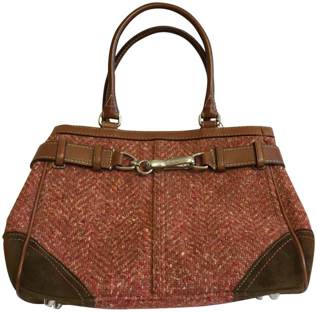 Coach Bag Hamptons Herringbone Pink/Red Tweed Suede and Leather Tote Coach Bag Hamptons Herringbone Pink/Red Tweed Suede and Leather Tote Image 1