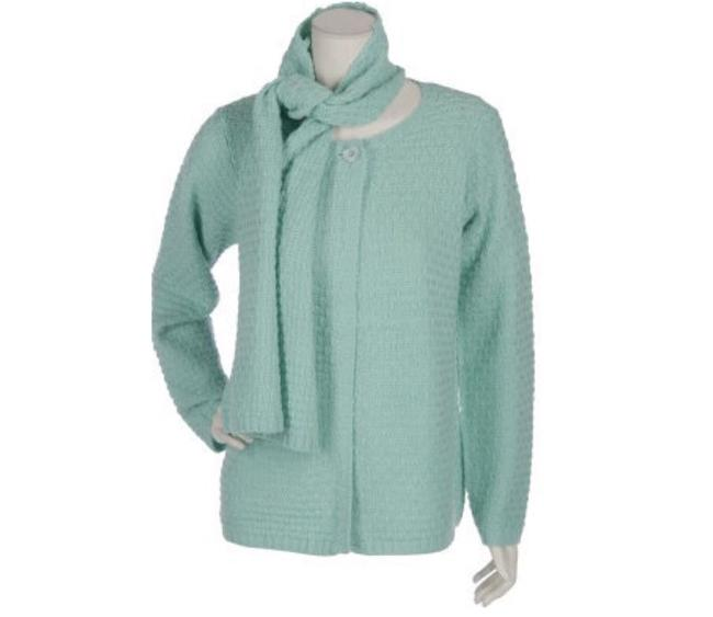 Item - Mint Green Chunky Textured Wool Blend &scarf Cardigan Size 10 (M)
