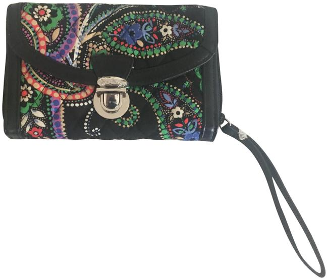 Item - Ultimate Kiev Paisley Green and Purple On Black Quilted Signature Cotton Wristlet