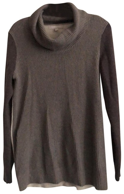 Item - Contrasting Knit Colorblock Contrasting Colors Brown Taupe and Beige Sweater