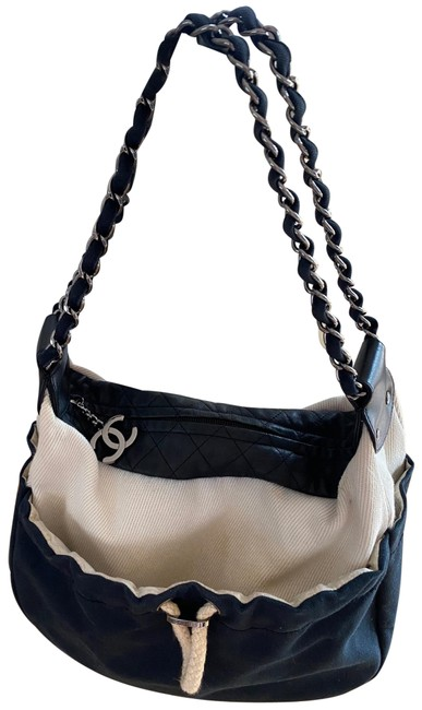 Chanel Drawstring Cc Chain Straps Navy and Ivory Canvas Fabric Leather Hobo Bag Chanel Drawstring Cc Chain Straps Navy and Ivory Canvas Fabric Leather Hobo Bag Image 1