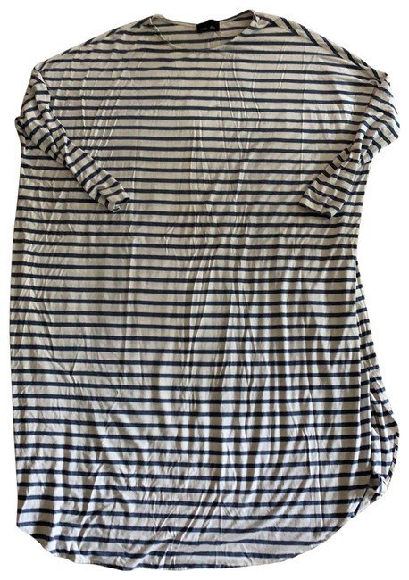 Item - White and Blue Mid-length Short Casual Dress Size OS (one size)