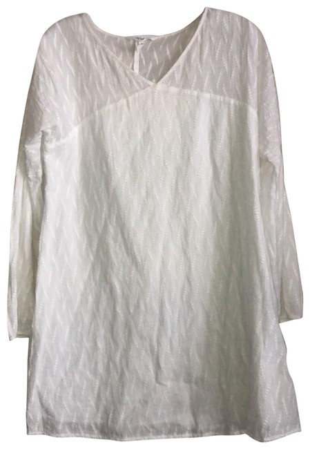 Item - White Textured Short Casual Dress Size 4 (S)