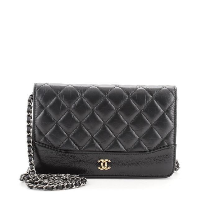 Chanel Wallet on Chain Gabrielle Quilted Aged Calfskin Black Leather Shoulder Bag Chanel Wallet on Chain Gabrielle Quilted Aged Calfskin Black Leather Shoulder Bag Image 1