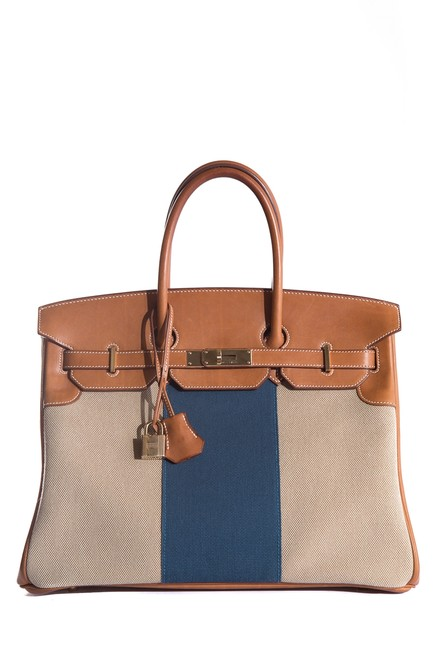 Item - Birkin 35cm Limited Edition Flag Barenia/Toile Blue Permabrass Multicolor Canvas Tote