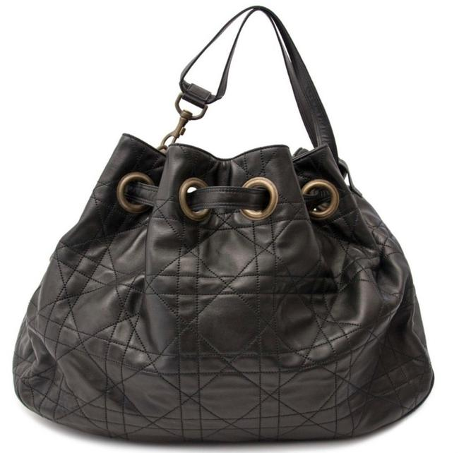 Item - Christian Quilted Cannage Tote Black Lambskin Leather Hobo Bag