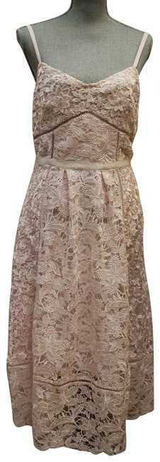 Item - Pink Tie The Knot Lace Spaghetti Strap Mid-length Formal Dress Size 6 (S)