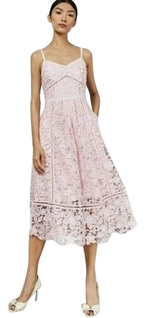 Item - Pink Tie The Knot Lace Spaghetti Strap Tb Us Mid-length Formal Dress Size 6 (S)