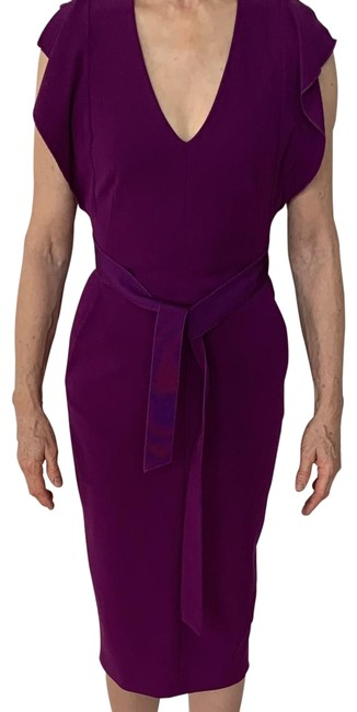 Item - Purple Pockets. Sleeveless with Flaps. Tie Belt. Back Pleat. Lined Mid-length Night Out Dress Size 4 (S)