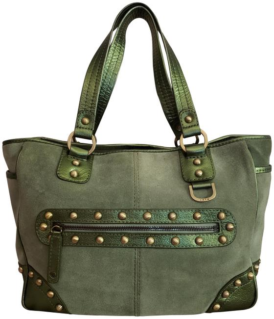 Rafe Suede Embellished Leather Solid Brass Hardware Large Neutral Green Glamorous Tote Rafe Suede Embellished Leather Solid Brass Hardware Large Neutral Green Glamorous Tote Image 1