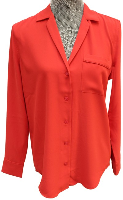 Item - Red Button Front Long Sleeve Blouse Button-down Top Size 2 (XS)