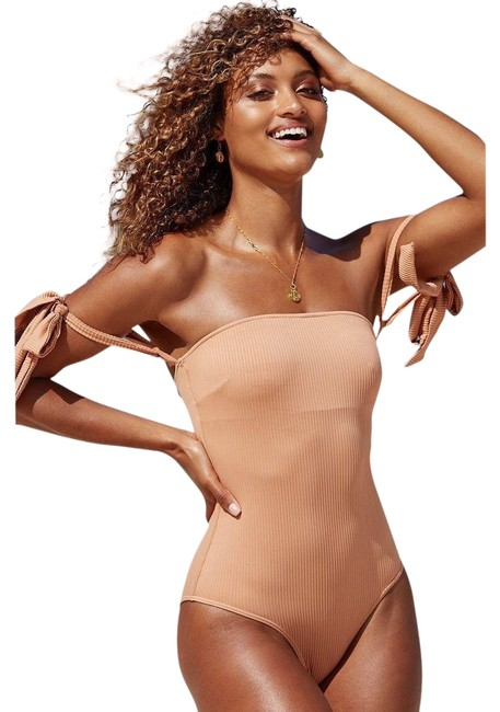 Monday Swimwear Tan Santorini Sand Rib One-piece Bathing Suit Size 4 (S) Monday Swimwear Tan Santorini Sand Rib One-piece Bathing Suit Size 4 (S) Image 1