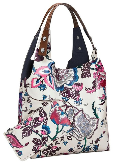 Item - Tote W Happy Times Floral Tote W/Pouch Multicolor Lambskin Leather Shoulder Bag