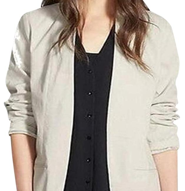 Item - Bone Polished Ramie Stretch Open Front Blazer Size 14 (L)