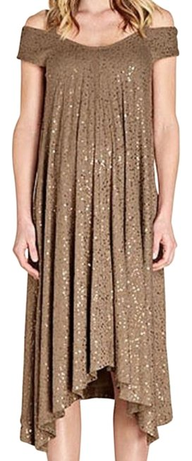 Item - Khaki Sequin Off-shoulder Hi -low Maternity Dress Size 0 (XS, 25)