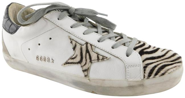 Item - White / Black /Grey Superstar Zebra Accent Distressed Leather Sneakers Size EU 41 (Approx. US 11) Regular (M, B)