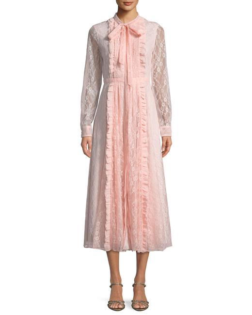 Item - Pink Long-sleeve Pintucked Lace Long Formal Dress Size 12 (L)