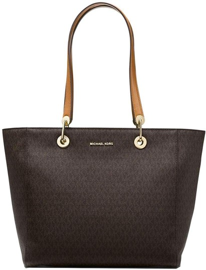 Preload https://img-static.tradesy.com/item/27935831/michael-kors-raven-large-logo-brown-coated-twill-leather-tote-0-0-540-540.jpg