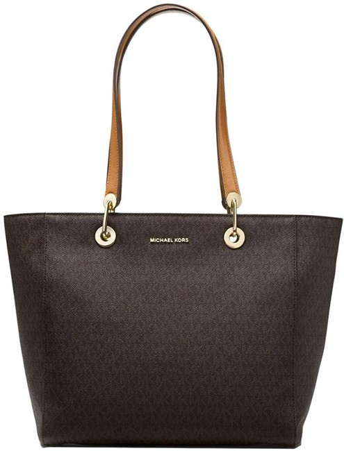 Item - Raven Large Logo Brown Coated Twill / Leather Tote