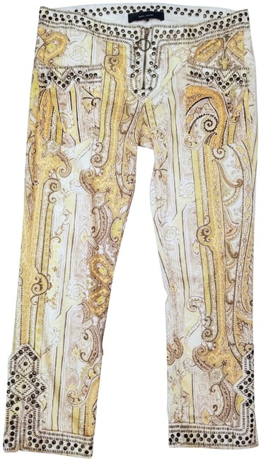 Item - Cream / Bronze / Multi / Colored Baroque Print Studded Pants Size 12 (L, 32, 33)