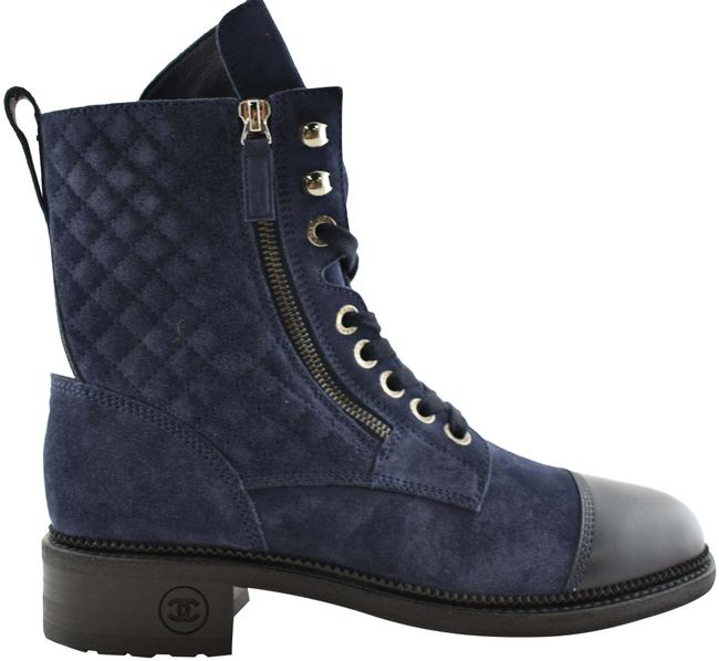Item - Blue Navy Suede Black Quilted Cc Combat Lace Up Tie Military Boots/Booties Size EU 41 (Approx. US 11) Regular (M, B)