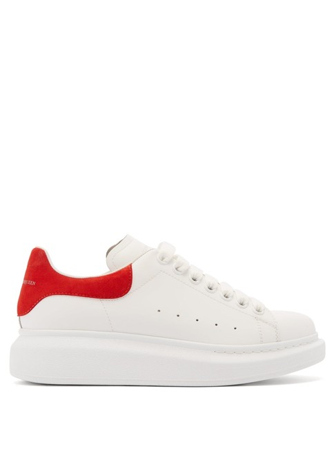 Item - White/Red Mf Oversized Raised-sole Low-top Leather Trainers Sneakers Size EU 34 (Approx. US 4) Regular (M, B)
