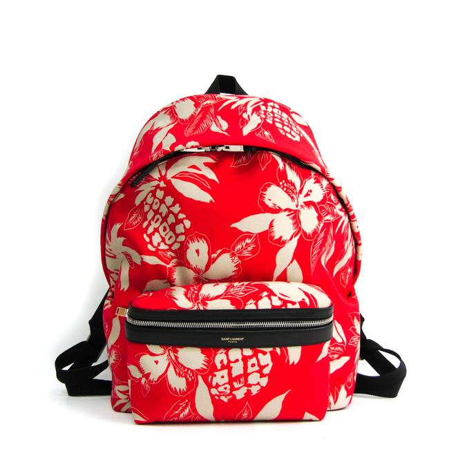 Item - Hibiscus 435988 Unisex Black / Ivory / Red Color Canvas / Leather Backpack